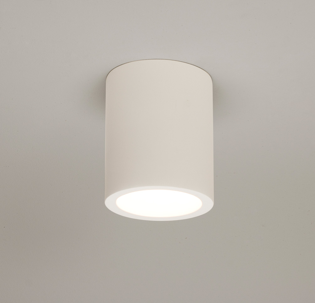 Bathroom Ceiling Lights Gu10 : Astro osca round surface plaster ceiling light w gu cfl led lamp white liminaires