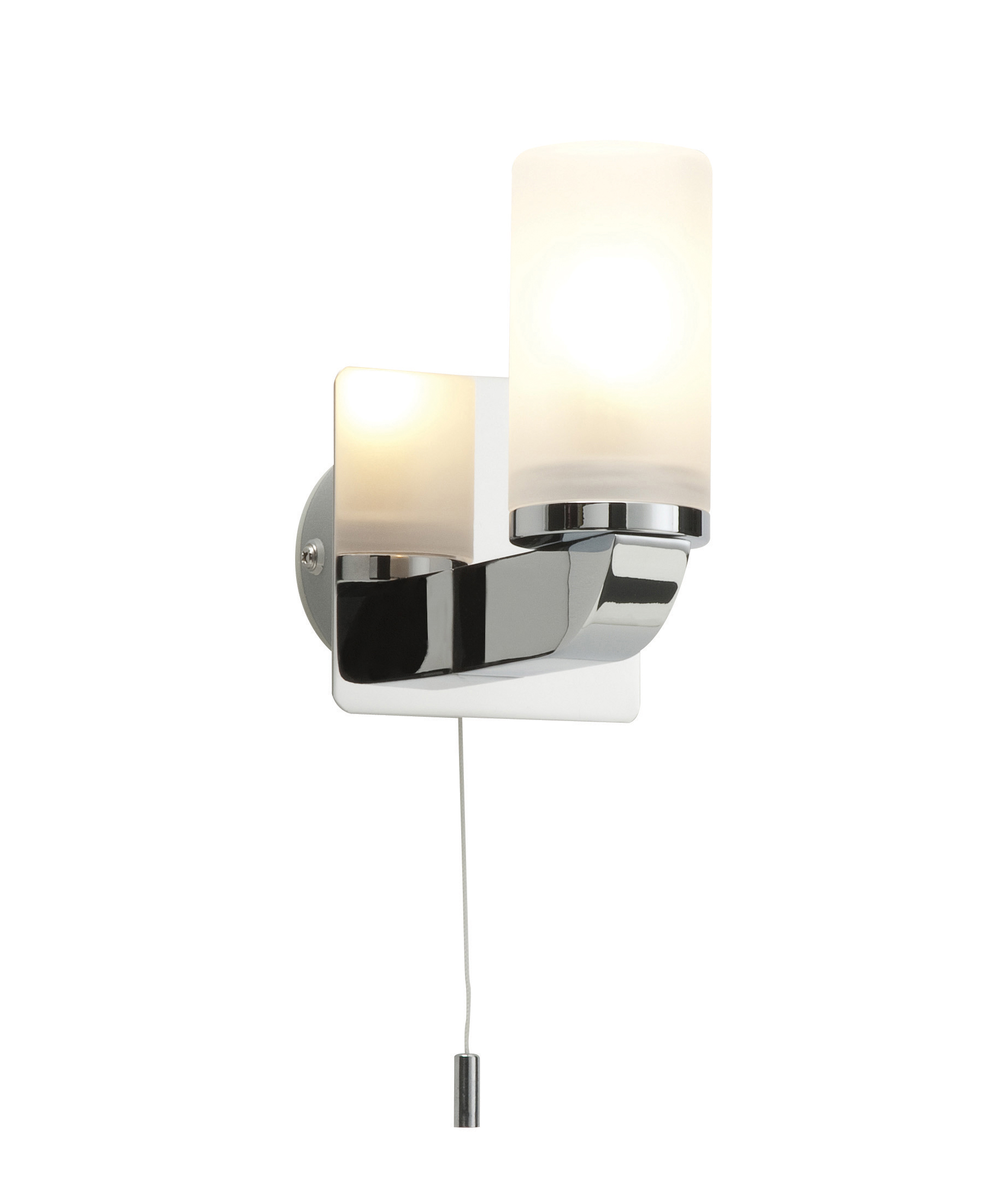 Bathroom Wall Lights Pull Cord Switch : Saxby Cara single bathroom wall light pull cord switch chrome glass 28W G9 eBay