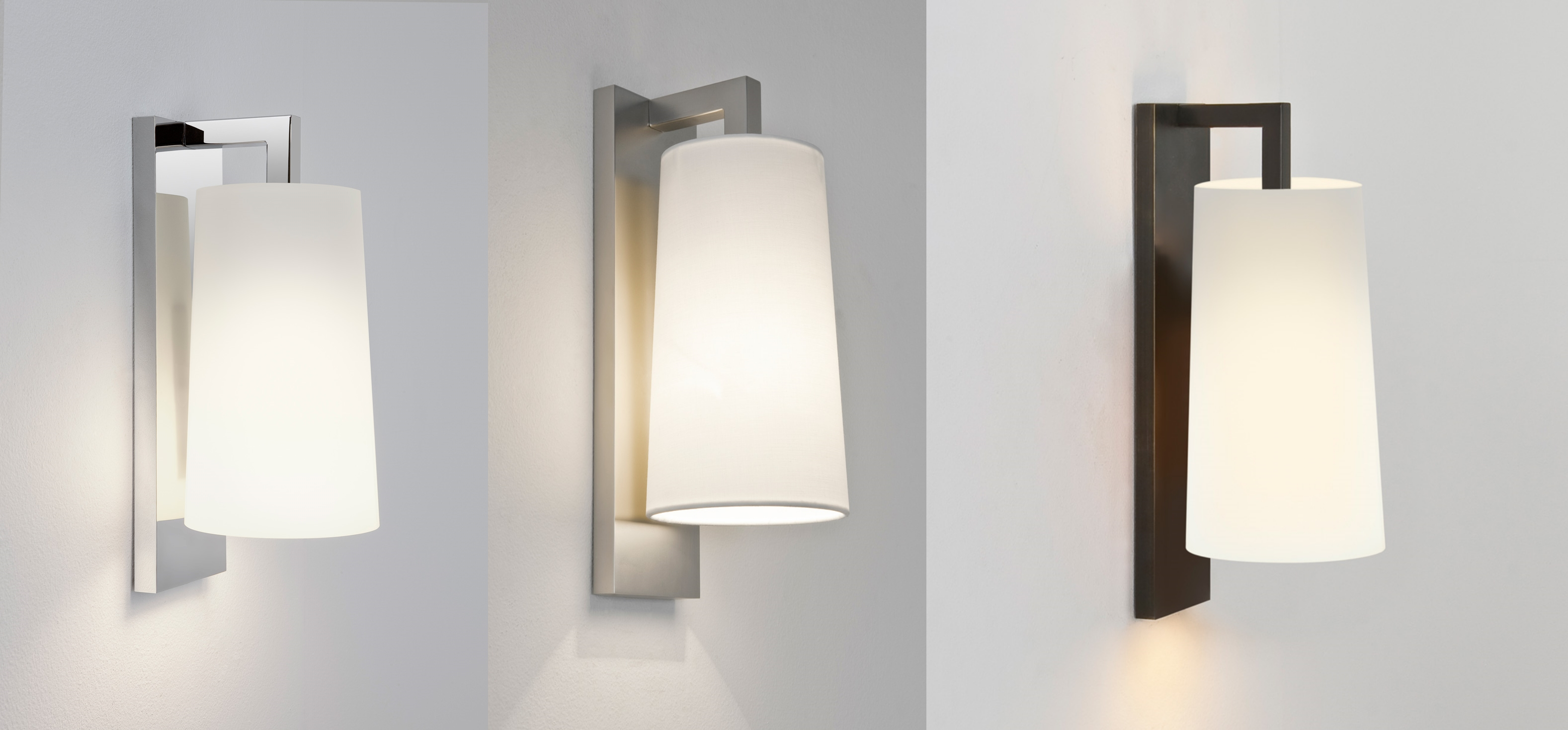 Wall Lights For Shower Room : Astro Lago 280 bathroom wall light 60W E27 chrome bronze nickel glass fabric eBay