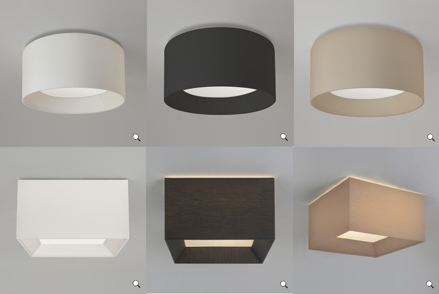 Astro Bevel small ceiling light fabric shade white black ...