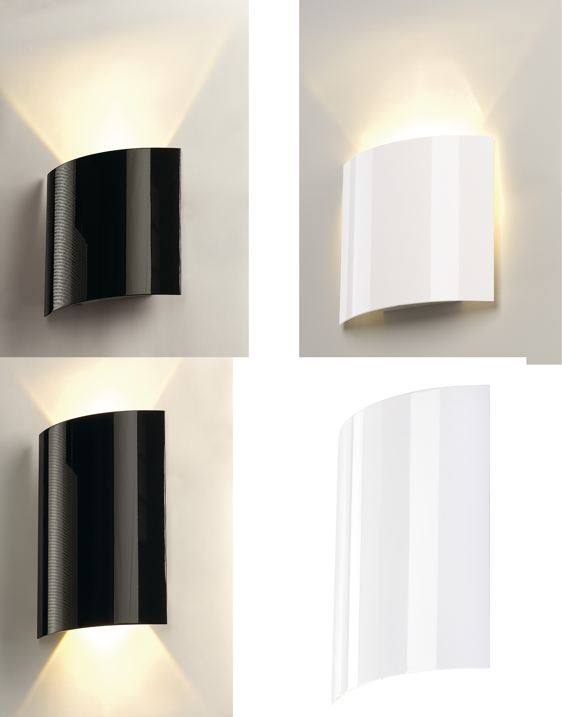 Black Gloss Wall Lights : Intalite LED Sail 1 or 2x3W LED up down Wall Light Gloss Black or white eBay