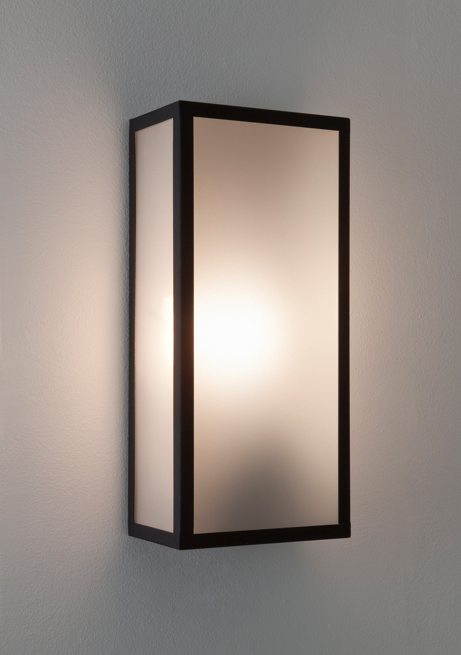 Etched Glass Wall Lights : Astro Messina 7187 exterior external wall light 60W E27 black frosted glass eBay