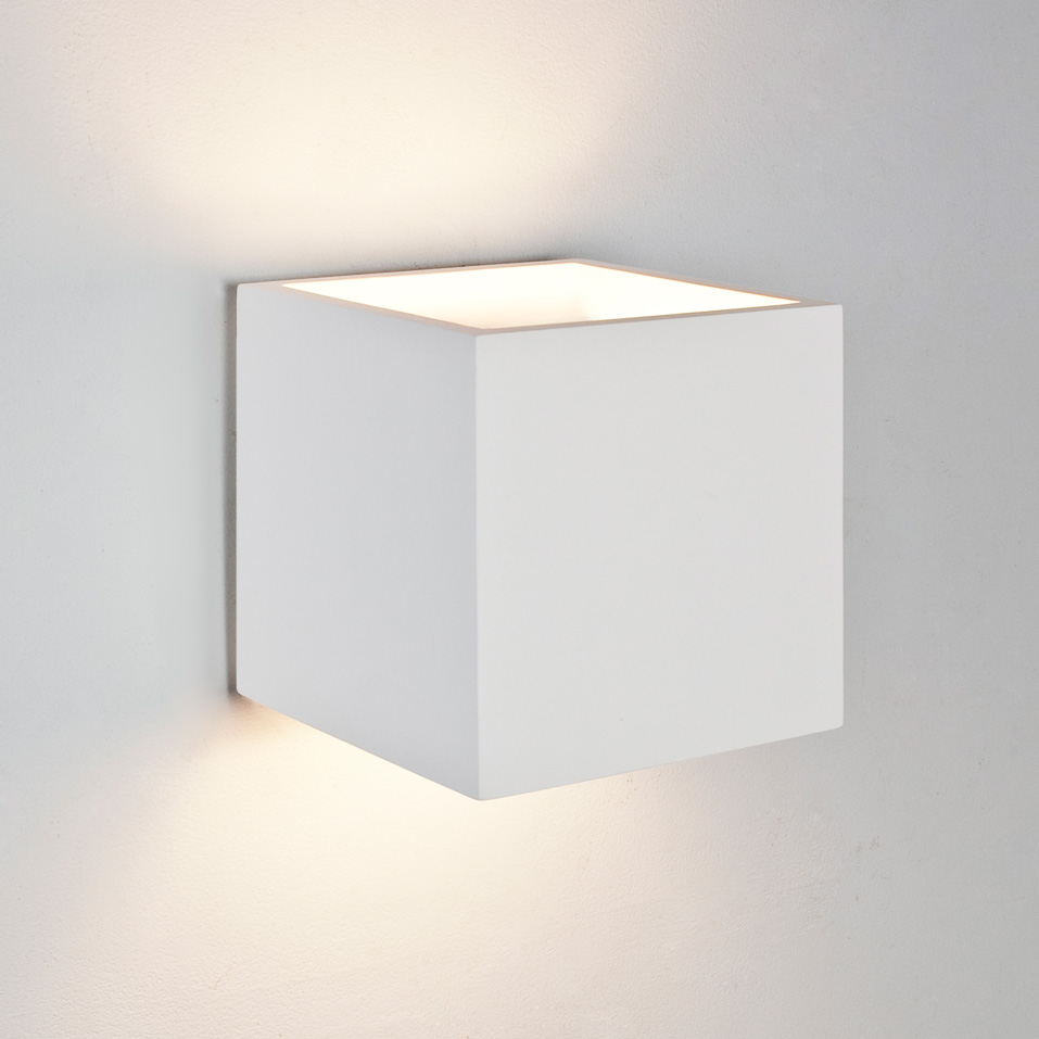 White Dimmable Wall Lights : Astro Pienza square cube ceramic plaster wall light 60W E27 white