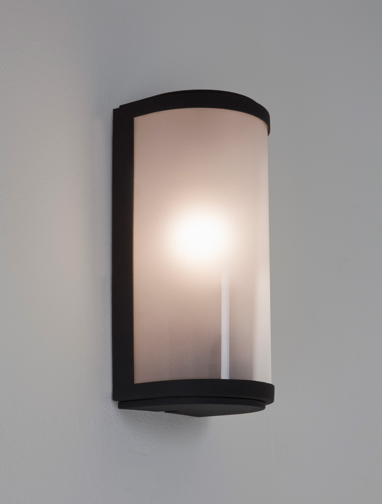 Wall Lamps External : Astro Paros IP44 outdoor external wall light 60W E27 lamp black frosted glass eBay