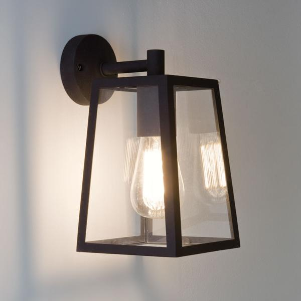 Astro Calvi IP23 outdoor external wall lantern light 60W E27 black glass eBay
