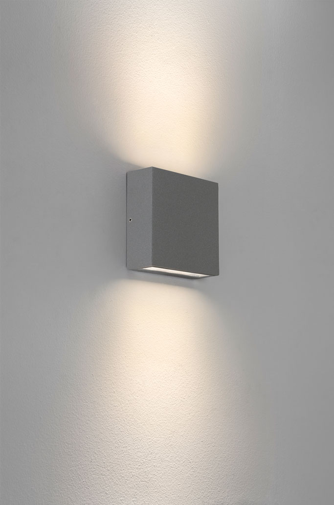 Twin External Wall Lights : Astro Elis twin IP54 LED rectangular outdoor wall lights up down 6W E27 silver eBay