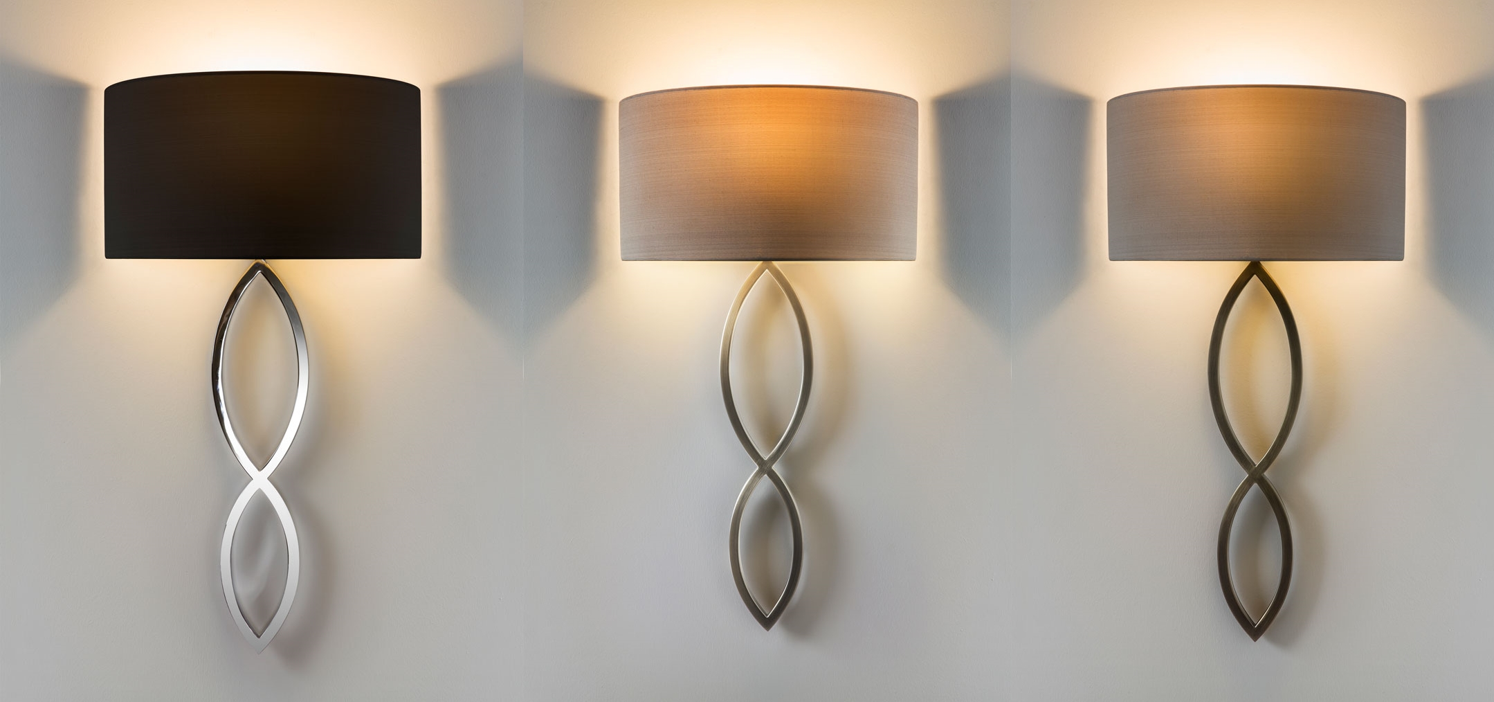 Stylish Wall Lights: Astro Caserta fabric shade stylish wall light 60W E27 chrome nickel bronze,Lighting
