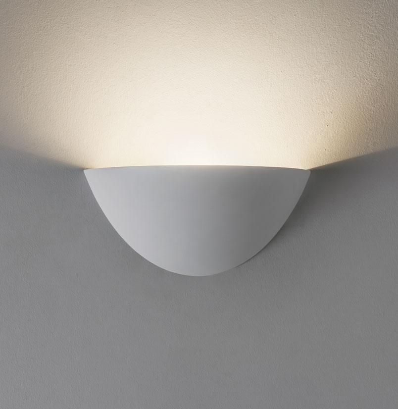 Astro Kastoria plaster ceramic bowl uplighter wall light white 28W G9 Liminaires
