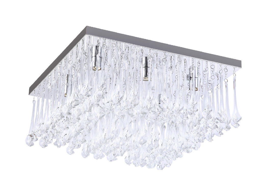 TP24 Piccadilly Knightsbridge 6x3W LED chrome carré cristal lumière plafond  -> Table Carre Led