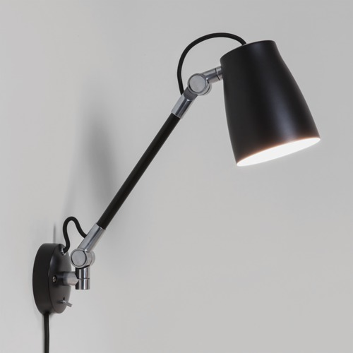 Wall Mounted Lamp With Switch : Astro Atelier Grande wall mounted reading light with switch 28W E27 black Liminaires