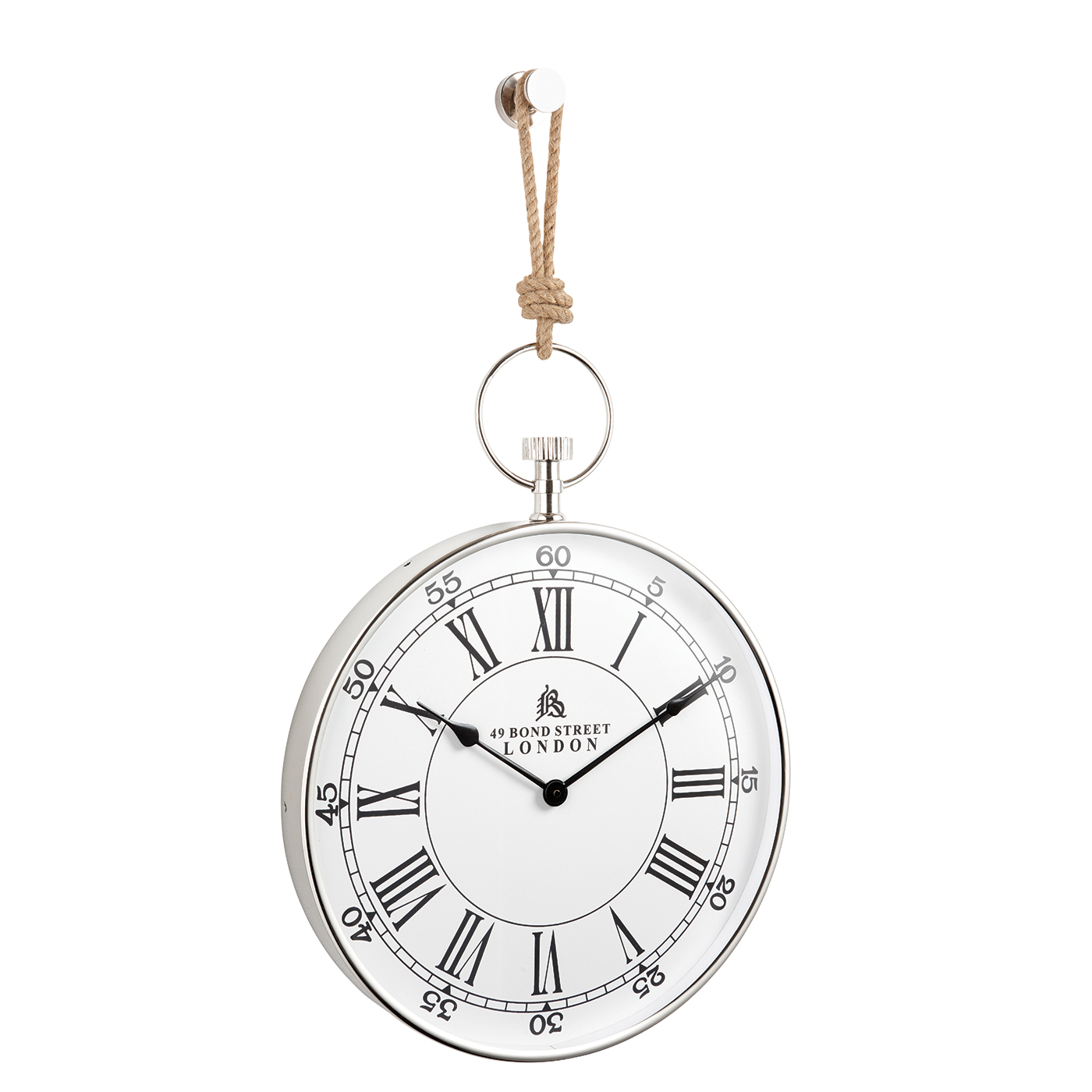 endon marshall wall clock polished nickel plate rope h