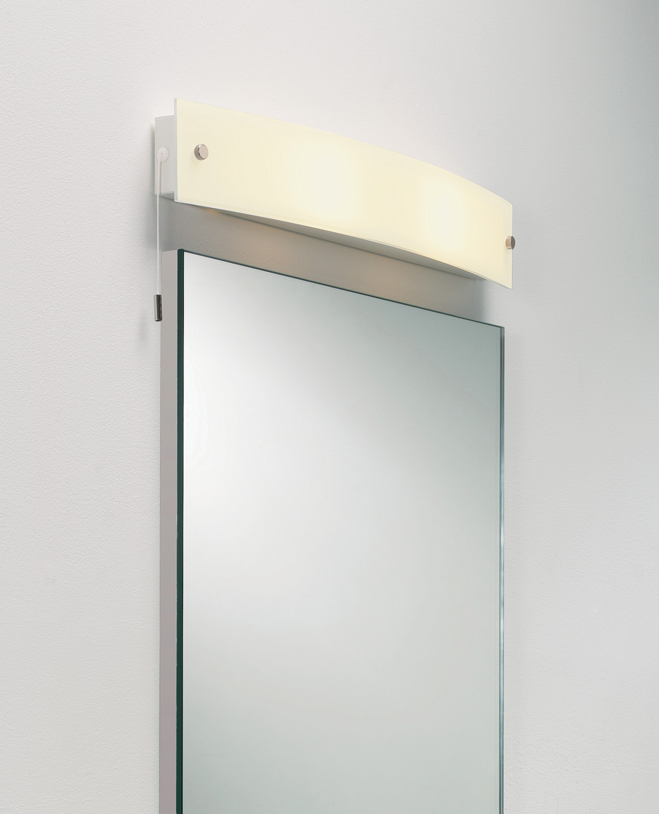 Astro Curve Bathroom Frosted Curved Glass Mirror Light