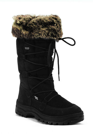 New Calzat Women's Fur Trim Traction Snow Boot Black