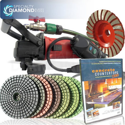 View Item Secco Countertop Concrete Polisher Diamond Polishing Pads Cup Wheel Fu Tung DVD