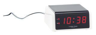 London Clock Company White & Black Case Led Digital Mains Powered Alarm Clock Thumbnail 1