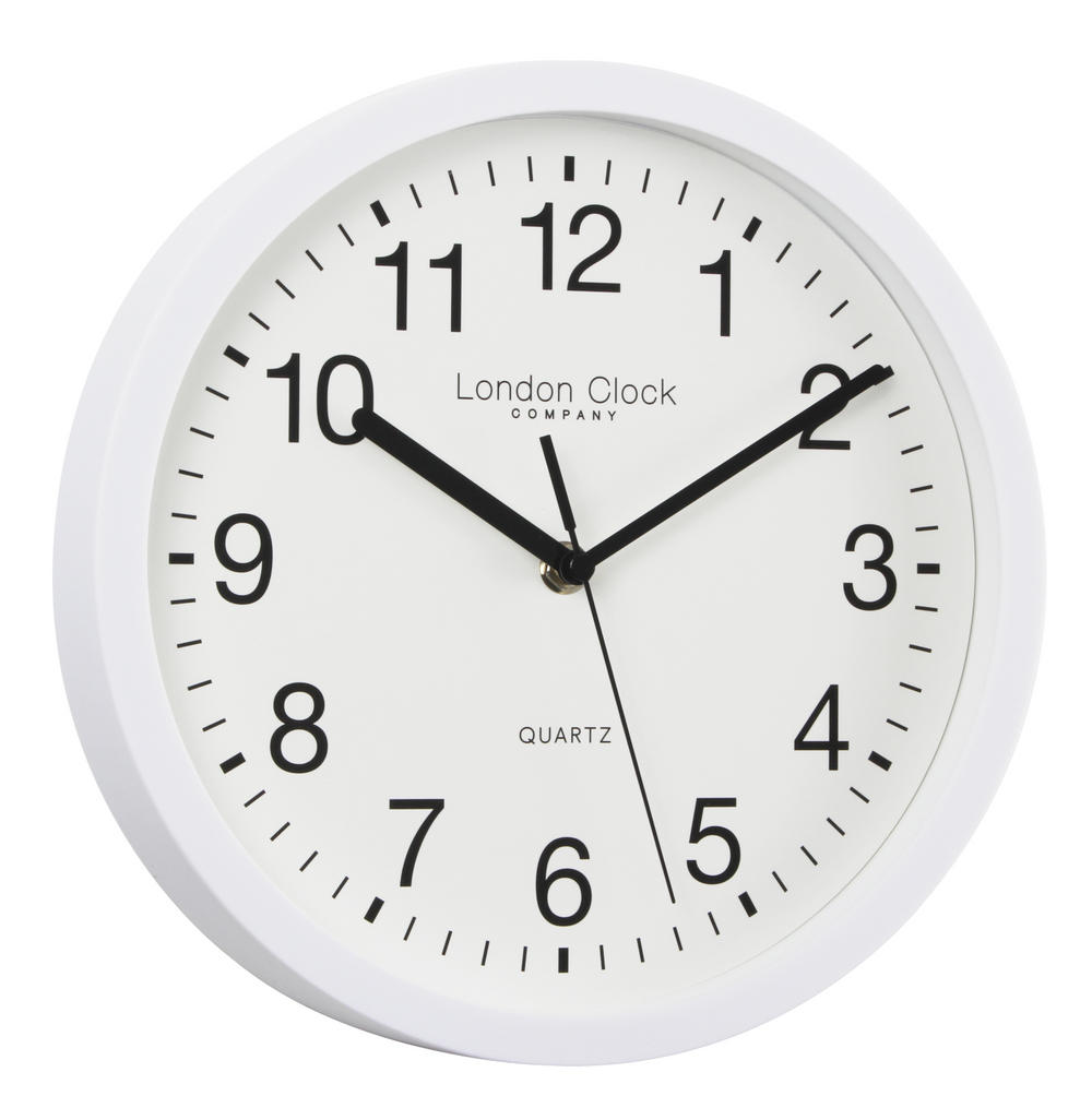 London Clock Company Classic White Arabic Dial Silent Sweep Wall Clock