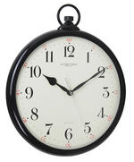 London Clock Company Black Pocket Watch Design White Arabic Dial Wall Clock