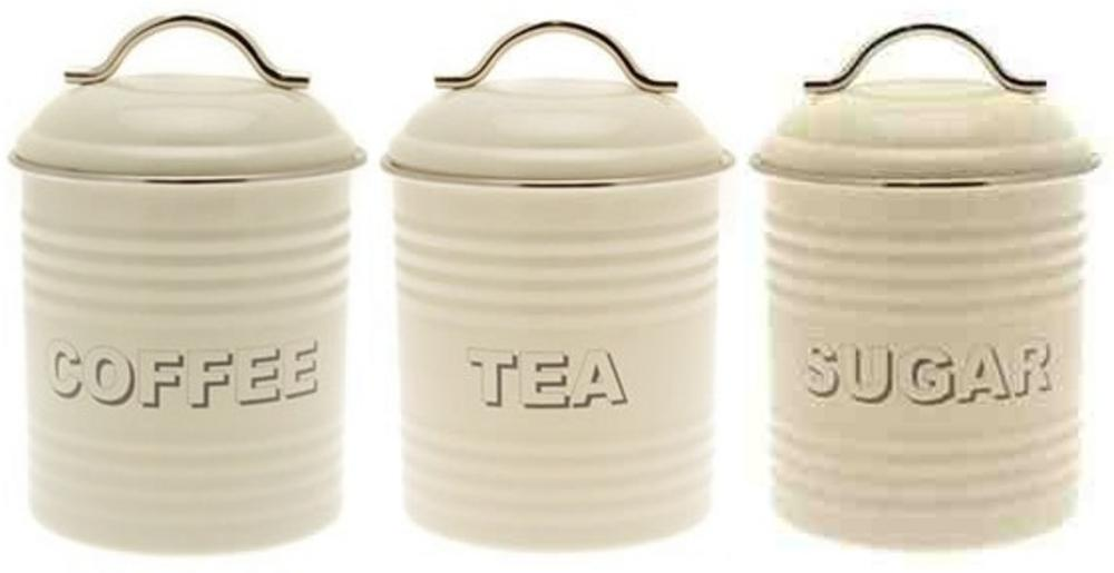 Vintage Effect Shabby Chic Cream Oval Metal Tin Tea Coffee Sugar Cannister Set