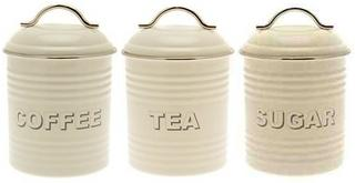 Vintage Effect Shabby Chic Cream Oval Metal Tin Tea Coffee Sugar Cannister Set Thumbnail 1