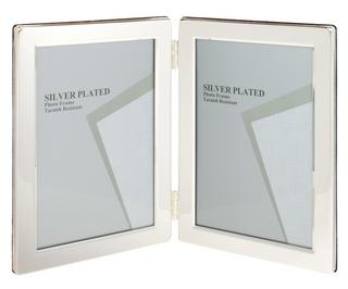 "Silver Plated Double Picture Photo Frame 4"" x 6"" Thumbnail 1"