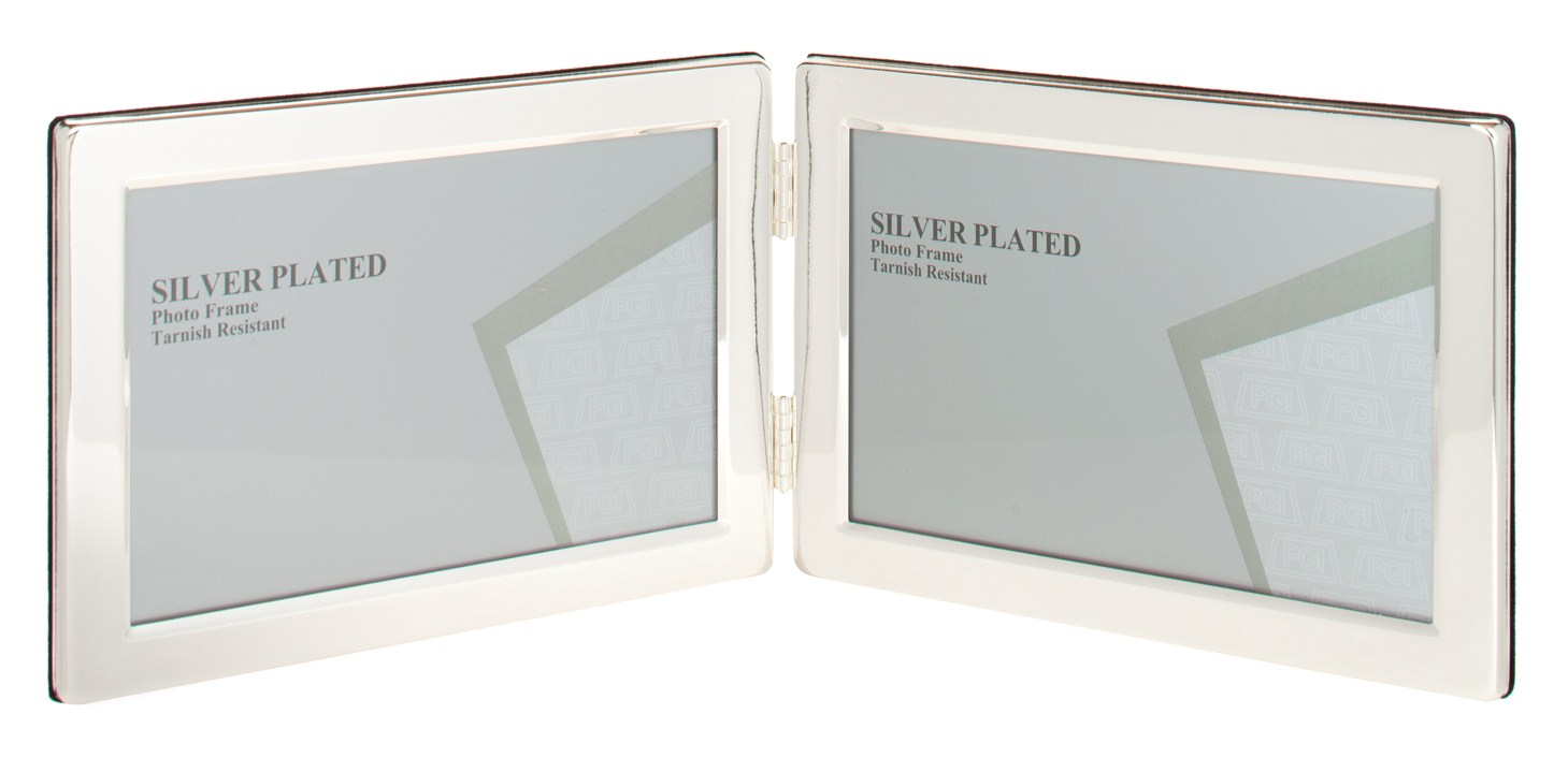 silver plated picture photo landscape double frame 5 x 7 by unity