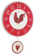 London Clock Company Country Kitchen Cockeral Pendulum Wall Clock 39Cm