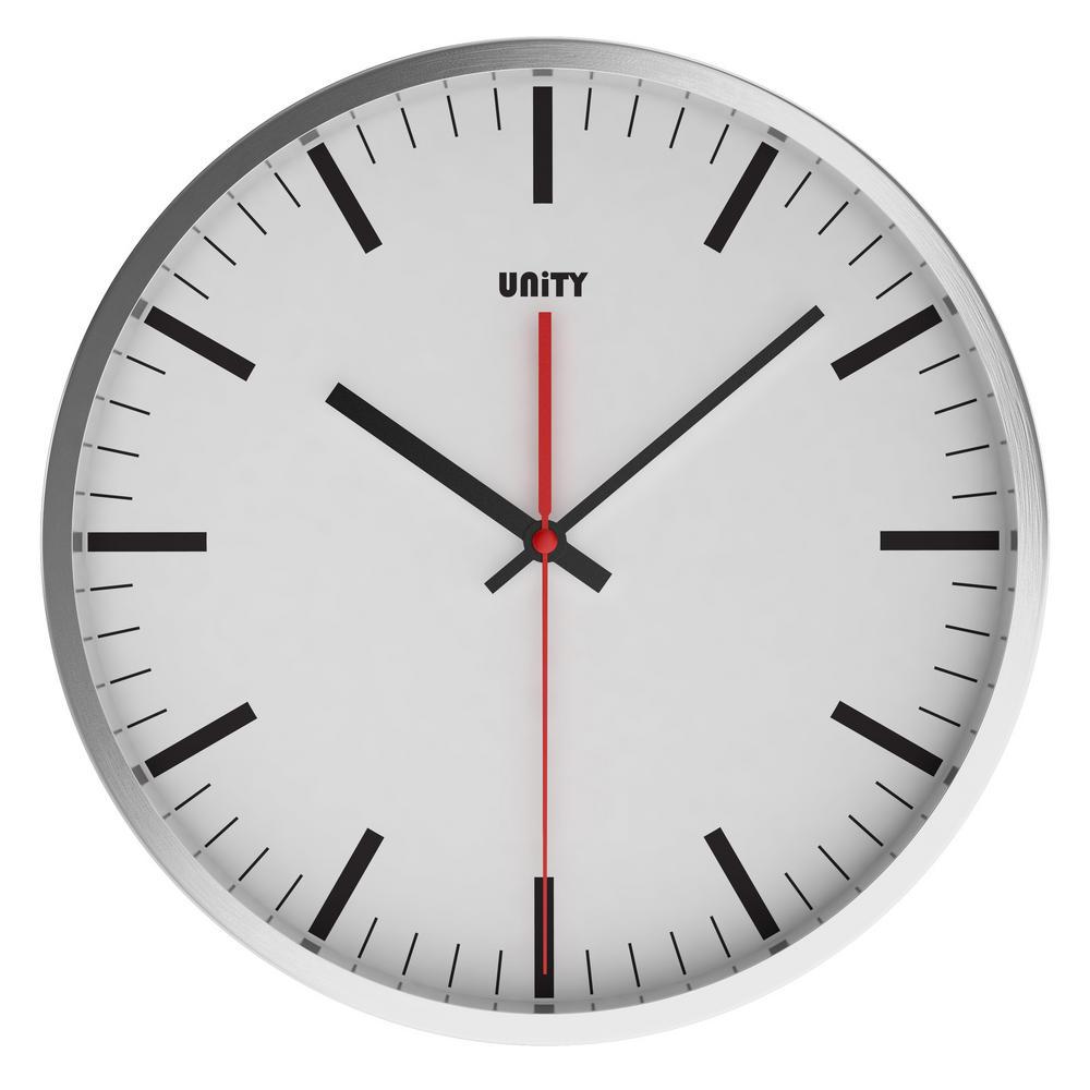 Unity Abberton Silent Sweep Non-Ticking 30Cm Contemporary White Dial Wall Clock