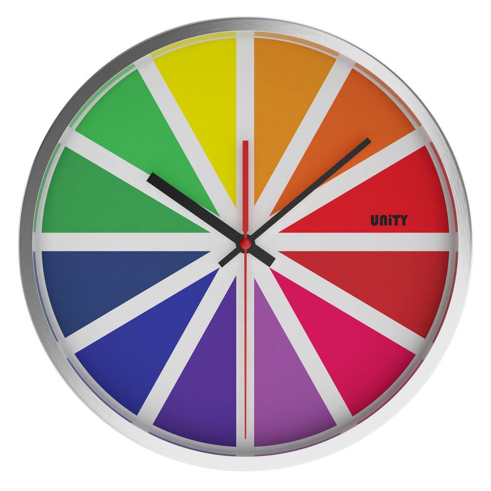 Unity Tabor Silent Sweep Non-Ticking 30Cm Contemporary Colour Dial Wall Clock