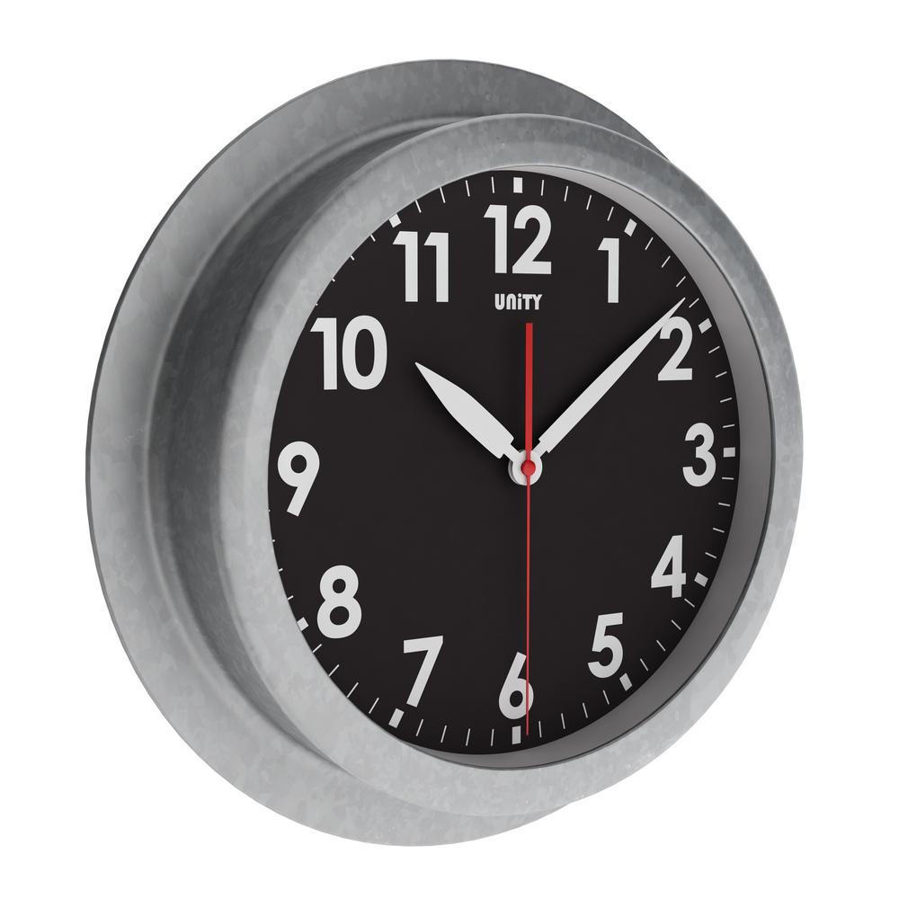 Unity Macduff Radio Controlled 23Cm Galvanised Urban Designer Wall Clock