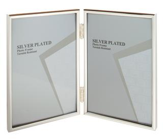 "Unity Silver Plated Thin Edge Double Picture Photo Frame - 4""X6"", 5""X7"", 6""X8"" Thumbnail 1"