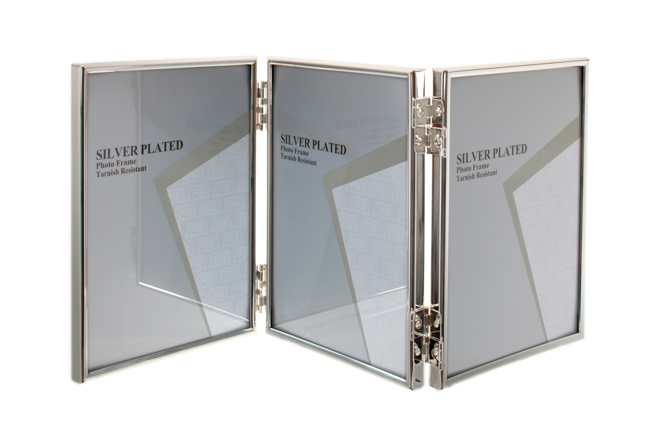 UNITY SILVER PLATED THIN EDGE TRIPLE PICTURE PHOTO FRAME -3.5X5 4x6 ...