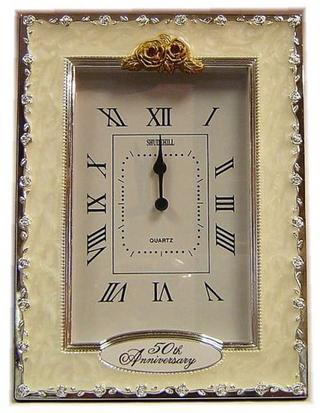 Shudehill Giftware 50Th Golden Wedding Anniversary Celebration Quartz Clock Thumbnail 1