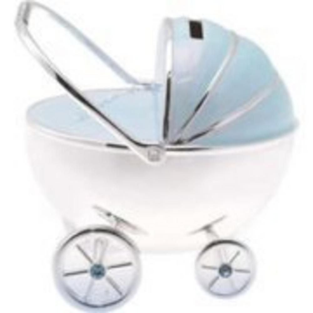 Silver Plated Pram Money Box Baby Gift In Blue Ideal For Boys