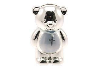Silver Plated Christening Teddy Bear Blue Boys Money Box Gift By Leonardo Thumbnail 1