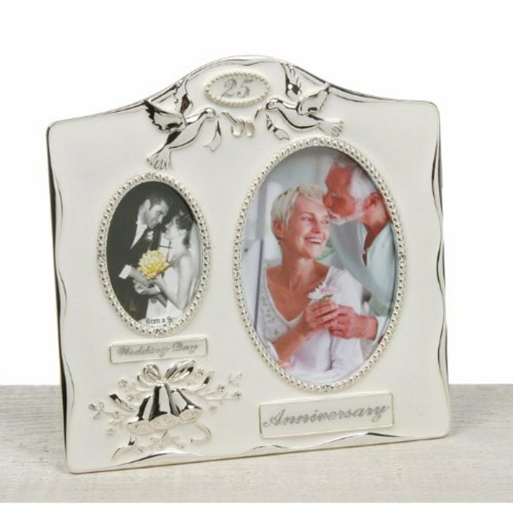 Two Tone Silver Powder Coated 25Th Wedding Anniversary Dual Picture Photo Frame