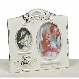Two Tone Silver Powder Coated 25Th Wedding Anniversary Dual Picture Photo Frame Thumbnail 1