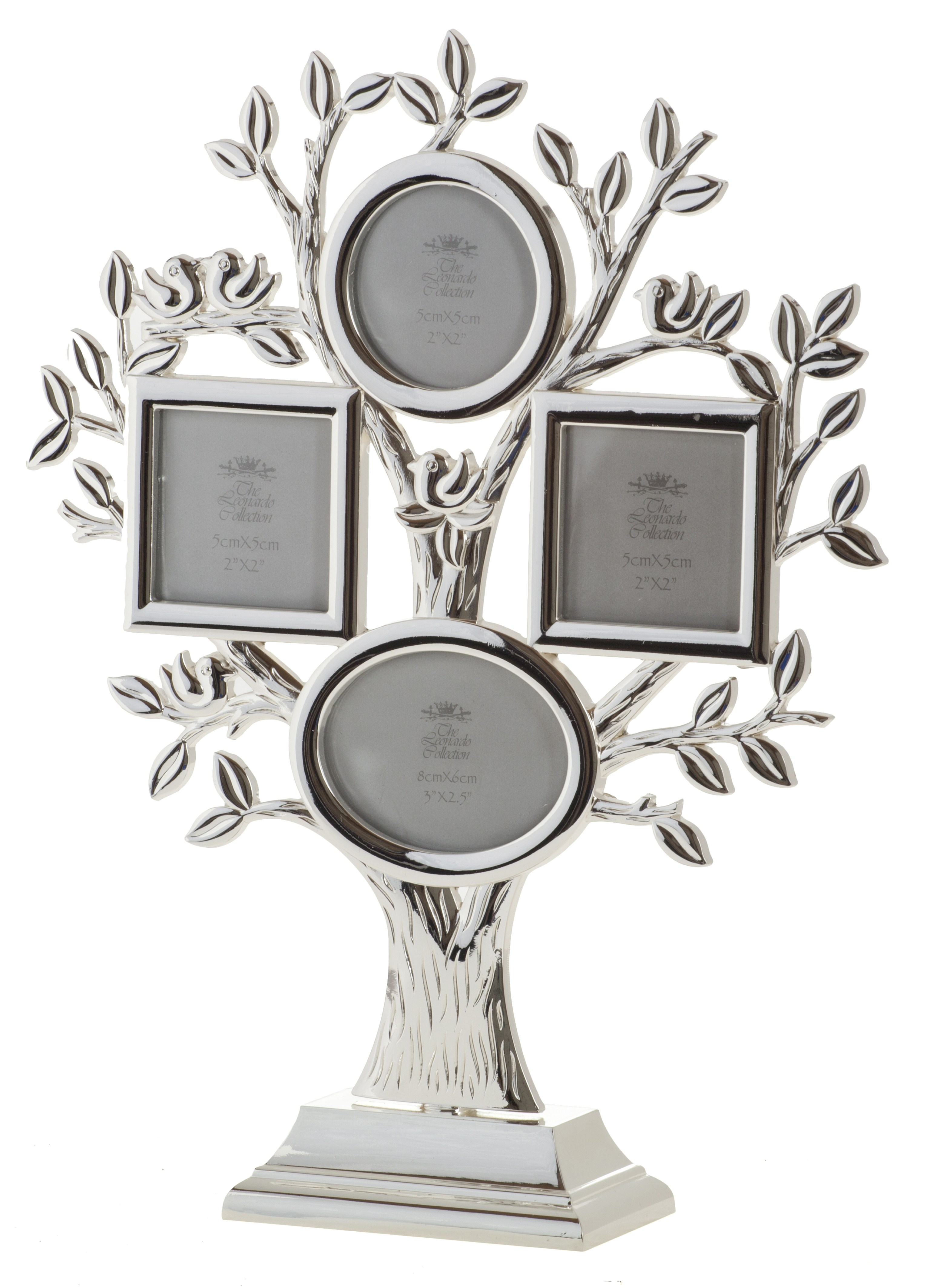 silver plated family tree picture photo frame and stand multi aperture ebay. Black Bedroom Furniture Sets. Home Design Ideas