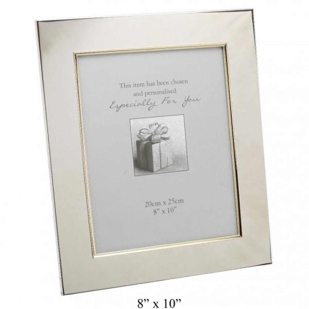 "Juliana Engravable Picture Frame 5"" X 7"" Gold Border Silver Plated Gift New"