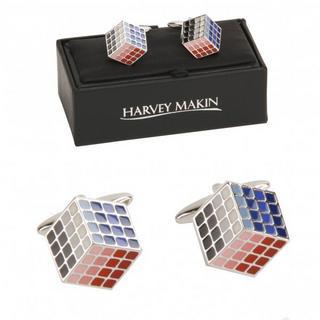 Harvey Makin Rubik'S Cube Cufflinks  Rhodium Plated Gift Boxed Square Design New Thumbnail 1