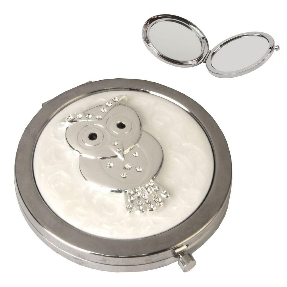 Sophia Silver Plated & Epoxy Compact Mirror - Owl