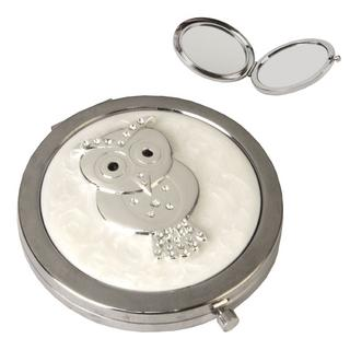 Sophia Silver Plated & Epoxy Compact Mirror - Owl Thumbnail 1