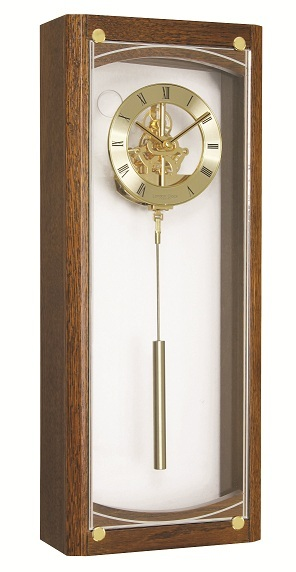 light oak finish gold skeleton pendulum wall clock gold