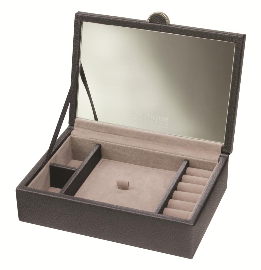 Boutique Black Small Jewellery Box Pu Jewellery Sateen Lining Metal Fitting New