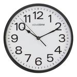 "HOMETIME 10"" PLASTIC WALL CLOCK WITH SWEEP / NON-TICKING MOVEMENT - BLACK"