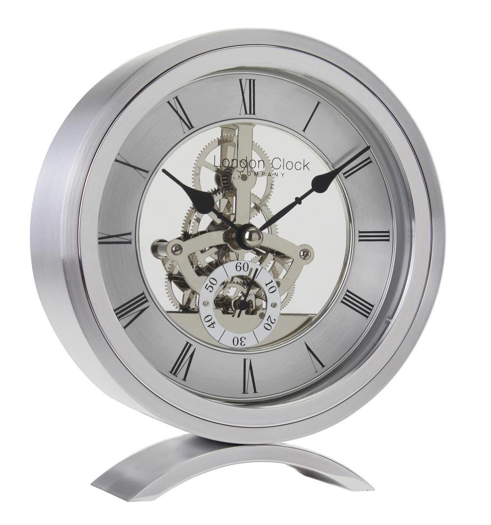 London Clock Company Round Silver Skeleton Mantel Clock