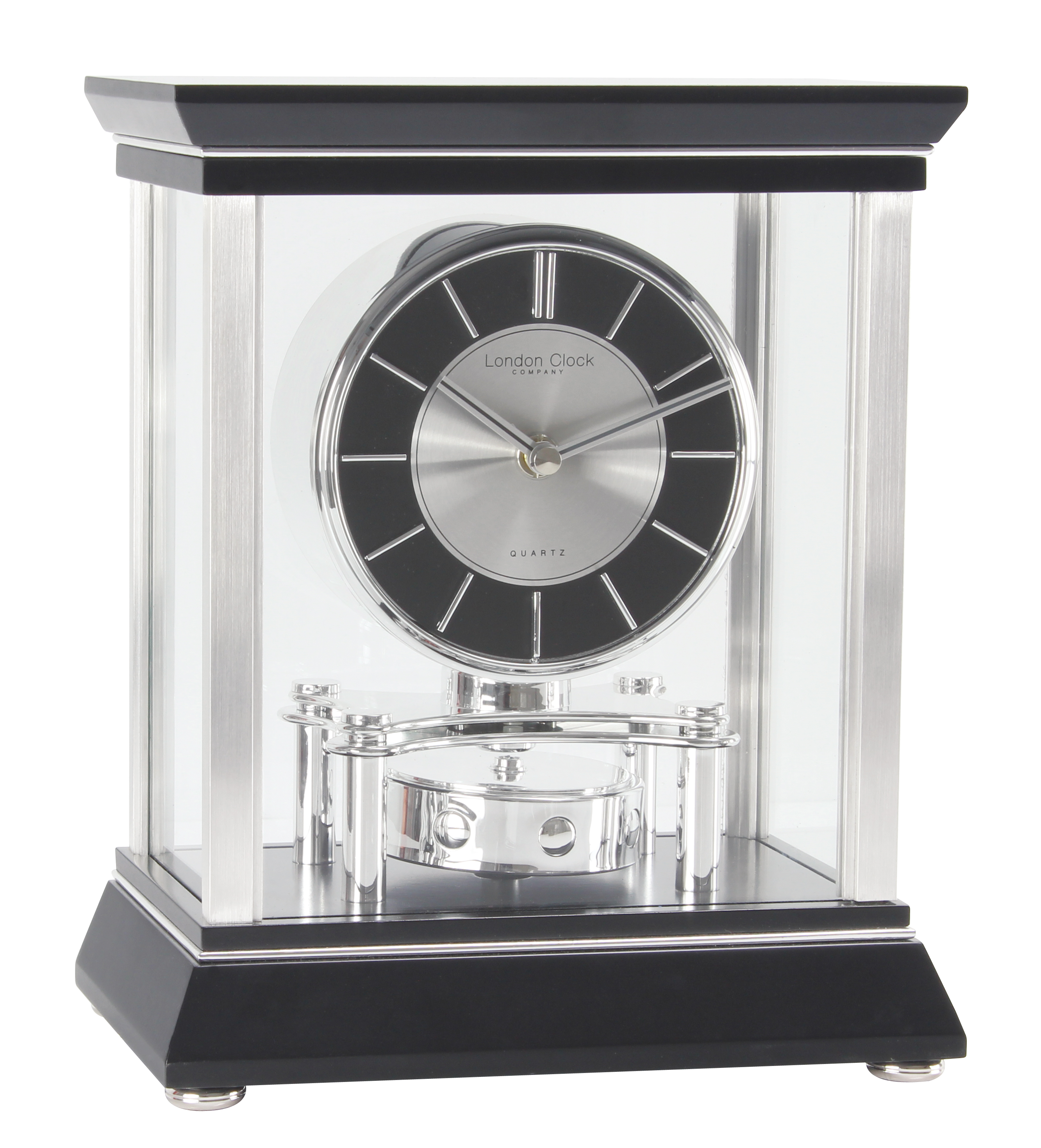 london clock company black u0026 silver rotating pendulum mantel clock - Mantel Clock