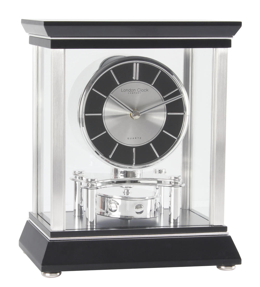 London Clock Company Black & Silver Rotating Pendulum Mantel Clock