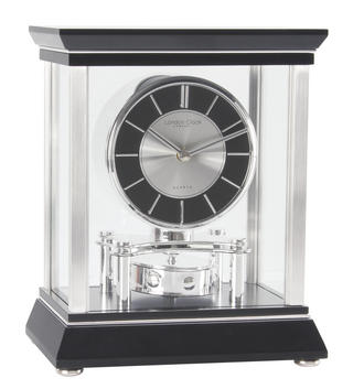 London Clock Company Black & Silver Rotating Pendulum Mantel Clock Thumbnail 1
