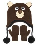 Nuzzles Brown Bear Hat And Mitten Glove Set - Age 2-5 Years
