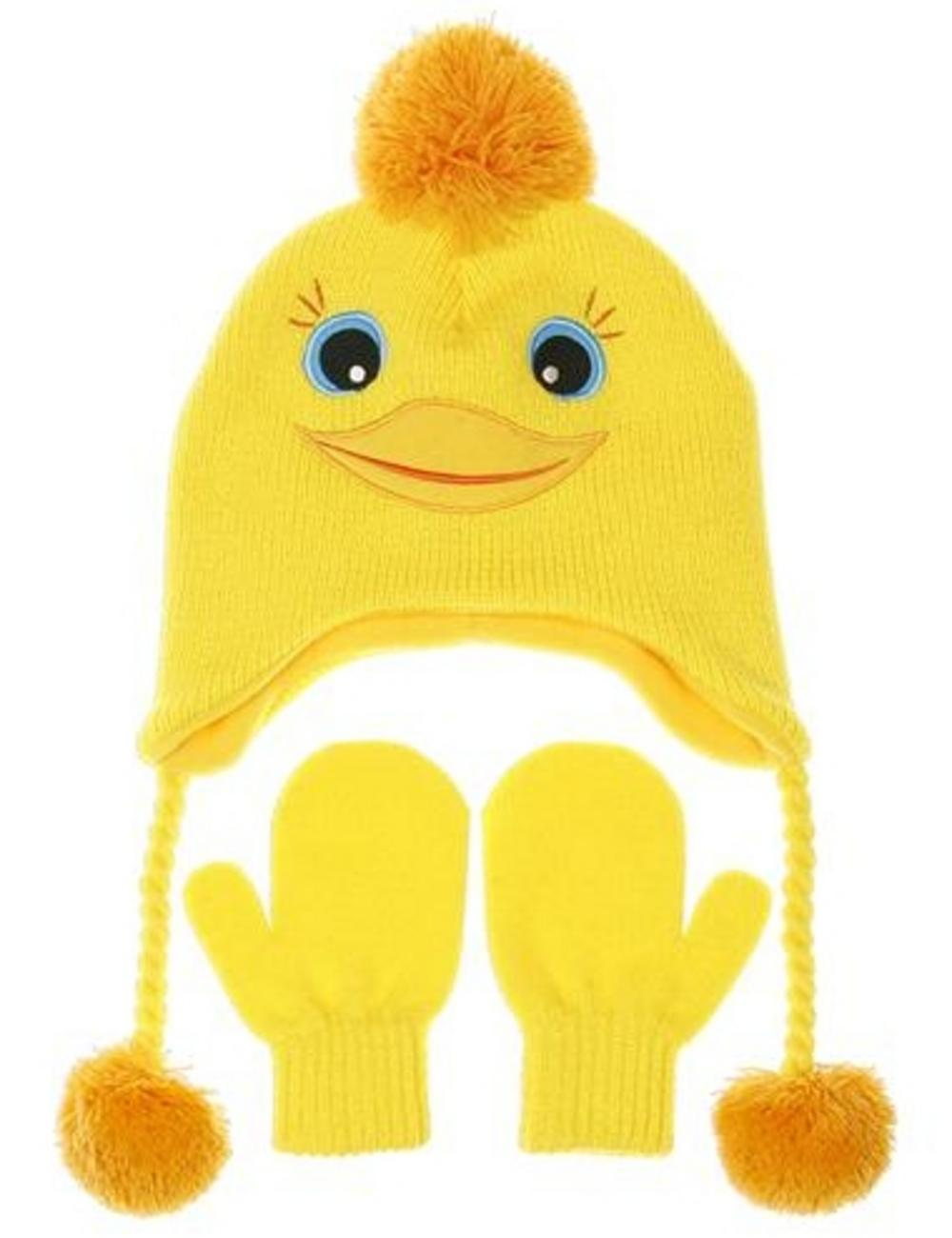 Nuzzles Yellow Duck Hat And Mitten Glove Set - Age 2-5 Years